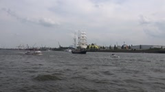 Tall ship Thalassa and ferry on boat trip round the Hamburg harbour Stock Footage