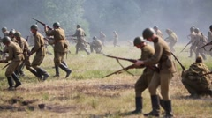 Staged battle illustrating battles of the Great Patriotic War - stock footage