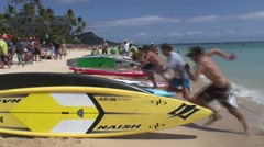 Salmini 10024-081015 - Stand Up Paddling Race Waikiki Beach Start Stock Footage