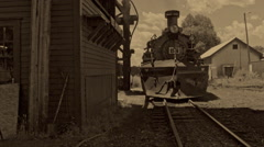 Old Footage Steam Locomotive Reversing Stock Footage