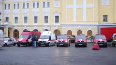 Fire trucks at Russian Academic Youth Theater during fire drills Stock Footage