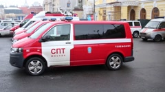 Parking with fire engines during fire drills at the Bolshoi Theatre Stock Footage