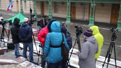 Journalists waits for the beginning fire drills at Bolshoi Theatre Stock Footage