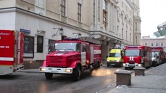 Trucks are in Kopevsky lane during fire drills at Bolshoi Theatre Stock Footage