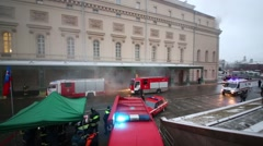 Fire drills at the Bolshoi Theatre in Moscow, Russia Stock Footage