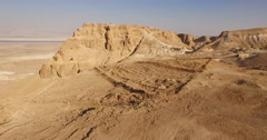 Aerial View of Roman Camp and Siege Ramp MASADA, ISRAEL Stock Footage