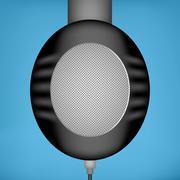 Black headphones, side view - stock illustration