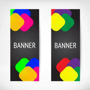 Vertical black web banners - stock illustration