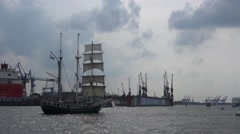 4k Tallship Thalassa leaving Hamburg harbour Stock Footage