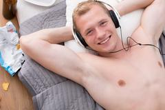 Chilling out with music - stock photo