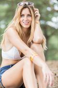 Girl wearing jeans hot pants - stock photo