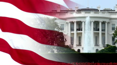 Slow Motion American Flag and White House Background Stock Footage