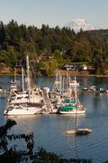 Quartermaster Harbor Mt. Rainier Vashon Island Puget Sound Stock Photos