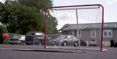 Urban Sport - Street Hockey with a ball and a net Stock Footage