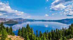 Timelapse, clouds over crater lake Stock Footage