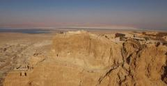 Flying 4K Aerial View of MASADA, ISRAEL Stock Footage