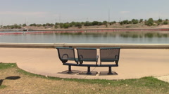 Lakeside park benches. Stock Footage