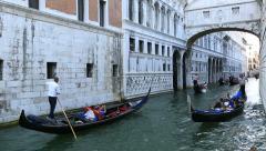 Bridge of Sighs (Ponte dei Sospiri ) with Gondola Stock Footage