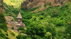 Hillside Monastry with Tourists Stock Footage