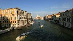 Traffic on the Grand Canal (Canale Grande) - stock footage