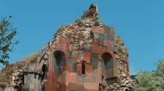 Stock Video Footage of Old Red Ancient Monastry Ruin