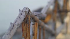 Old Rickety Wooden Fence Stock Footage