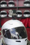 Go cart and racing sport helmet with camera Stock Photos