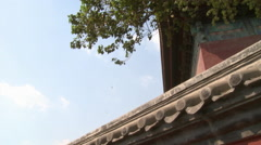 Red Chinese wall, Beijing Drum Tower, China Stock Footage
