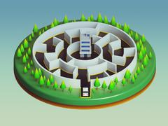 Cars are about to enter the maze Stock Illustration