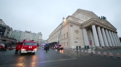 Bolshoi Theatre and the emergency cars in the evening Stock Footage