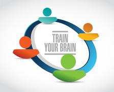 Stock Illustration of train your brain people network sign concept