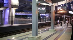 The train arrives on railway station platforms. Stock Footage