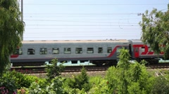 Beautiful view of sea opens after passing train with acronym RZD Stock Footage