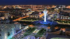 Night view of the illuminated Bayterek monument in Astana city. Stock Footage