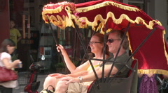 Tourists in pedicab, Beijing, China Stock Footage