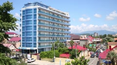 Stock Video Footage of Building of the hotel El Paraiso in Adler, Sochi.