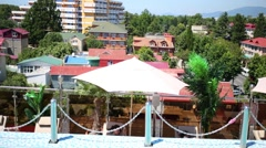 Bright multi-colored houses in the resort on a summer day Stock Footage