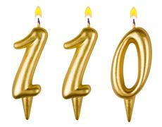 candles number one hundred ten - stock photo