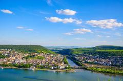 Bingen am Rhein and Rhine river, Rheinland-Pfalz, Germany Stock Photos