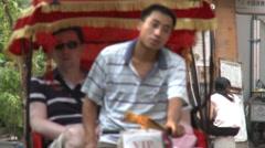 Beijing pedicab rides, China Stock Footage