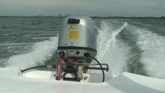 Speed motor boat engine fast move over water surface Stock Footage