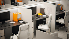 Cubicles In Empty Office. Stock Footage
