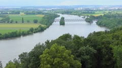 View of the Danube river from the Walhalla in Bavaria, Germany Stock Footage