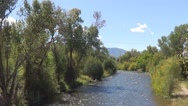 Flowing River With Trees and a Mountain in the Backround Stock Footage