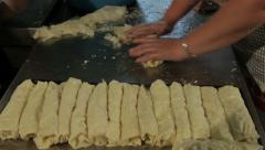 Cooks preparing cheese pies in kitchen, traditional food, close up, messroom. Stock Footage