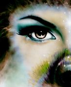 Women eye looking up mysteriously from behind a small rainbow colored peacock Stock Illustration