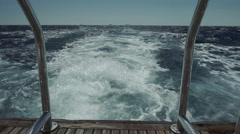 Picture of a view of a boat trace in the sea Stock Footage