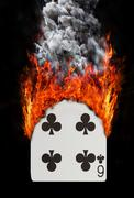Stock Illustration of Playing card with fire and smoke