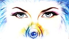 women eyes looking up mysteriously from behind a small rainbow colored peacock - stock illustration
