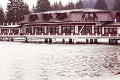 Stock Photo of Hotel on Lake in wintertime